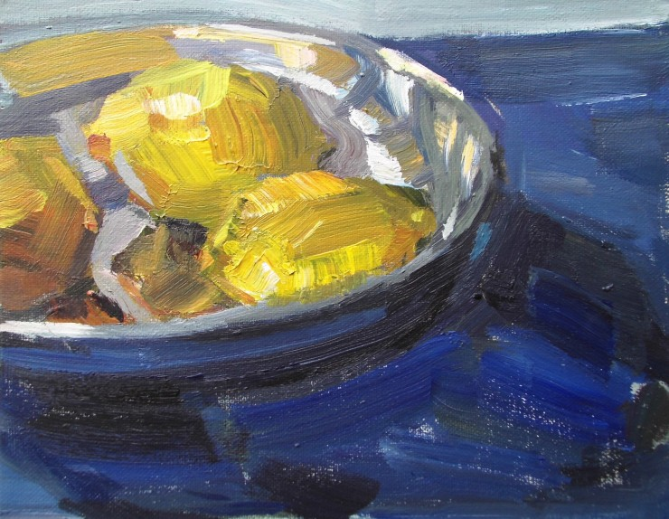 Lemon yellow silver and ultramarine